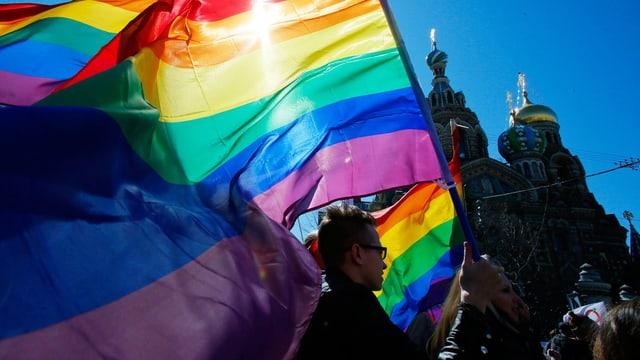 Das Bild zeigt Demonstranten mit bunter Fahne vor blauem Hintergrund.