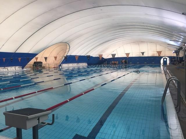 Schwimmbad mit gewölbter Überdachung
