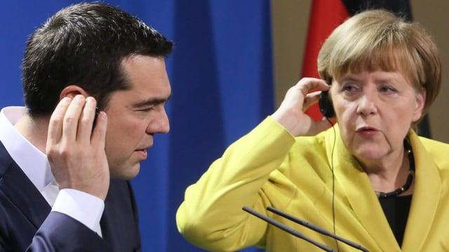 Alexis Tsipras ed Angela Merkel.