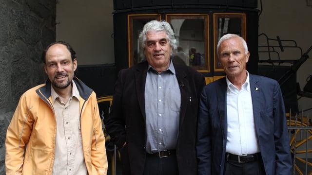 Gruppenbild von Werner Bellwald, Roland Huber und Herbert Volken.