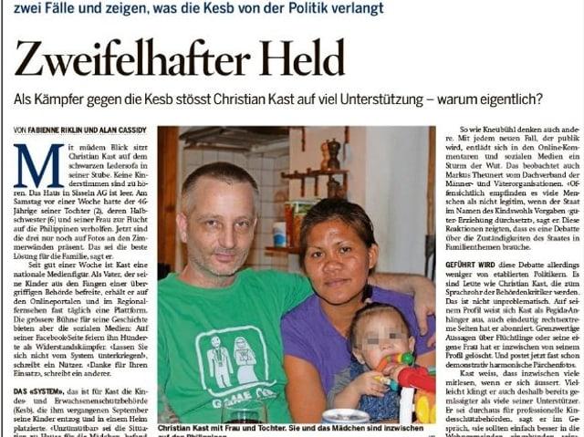 Die «Schweiz am Sonntag» berichtet über den Kesb-Kritiker Christian Kast.