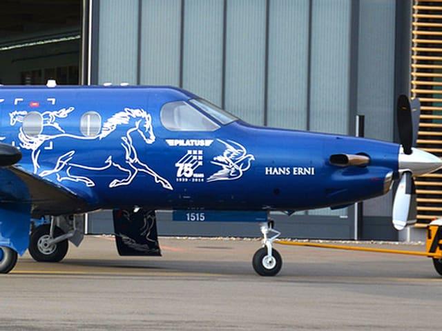 Ein blaues Flugzeug mit weisser Schrift verziert.