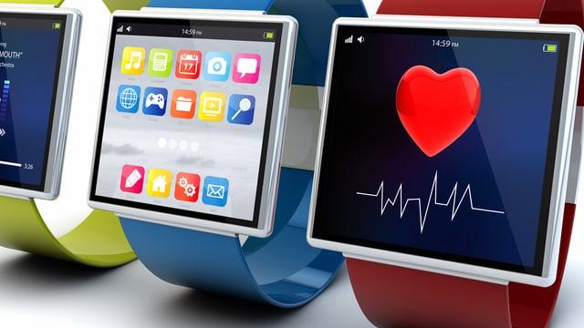 Smartwatches mit verschiedenen Apps af dem Display