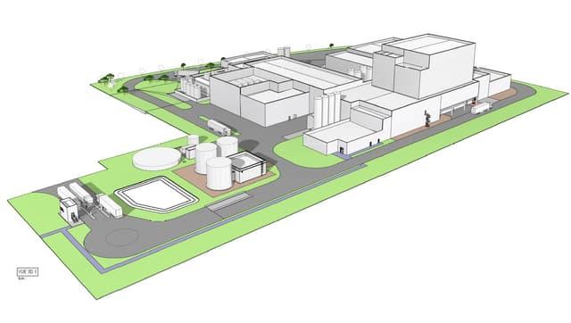 Visualisaziun da la fabrica che Synutra vul bajegiar a Saint-Aubin en il chantun Friburg.