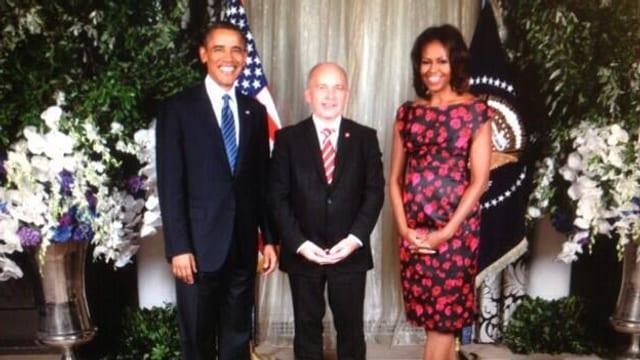 Bundespräsident Ueli Maurer mit Michelle und Barack Obama in New York.
