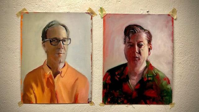 Christian Zeugin (l.) und Beat Schlatter in einem gemalten Portrait-Bild.
