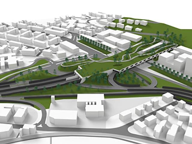 Ein überdachtes Stück Autobahn, auf dem ein Park realisiert werden soll.