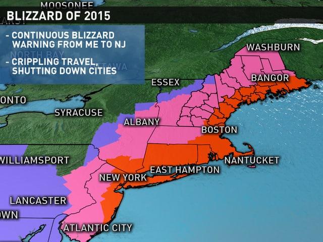 Karte zeigt US-Ostküste
