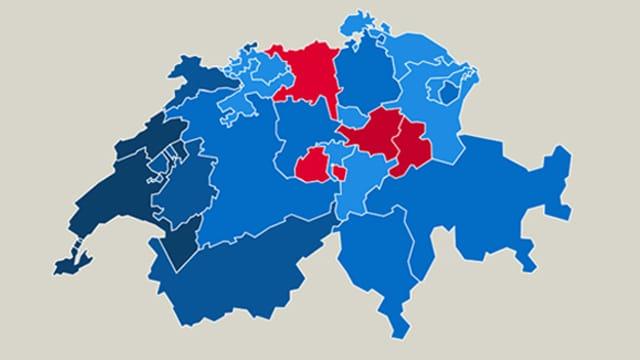 Schweizer Karte mit Ja- und Nein-Stimmen