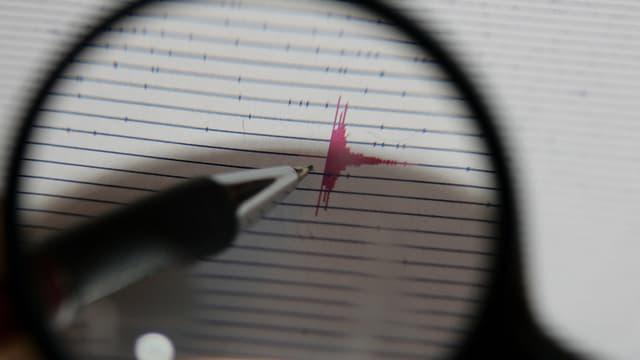 Ein Diagramm zeigt ein Erdbeben.
