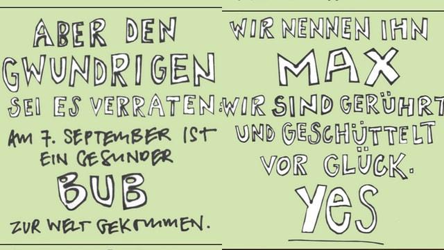 Fotografie zweier Texttafeln, weisse Schrift auf grünem Hintergrund.