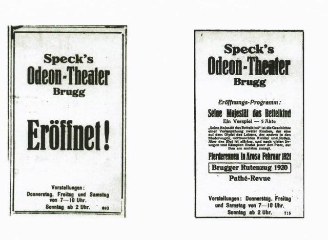 Odeon Plakate aus dem Jahr 1921