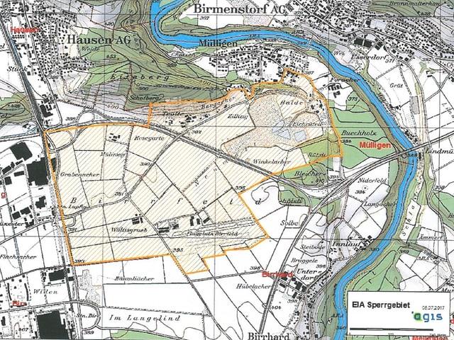 Landkarte, in grüner Schraffierung ist das Sperrgebiet eingezeichnet.