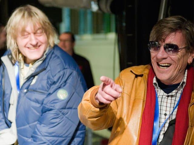 Hanery Ammann und Polo Hofer anlässlich der Einweihung «ihres» Platzes im Oktober 2009.