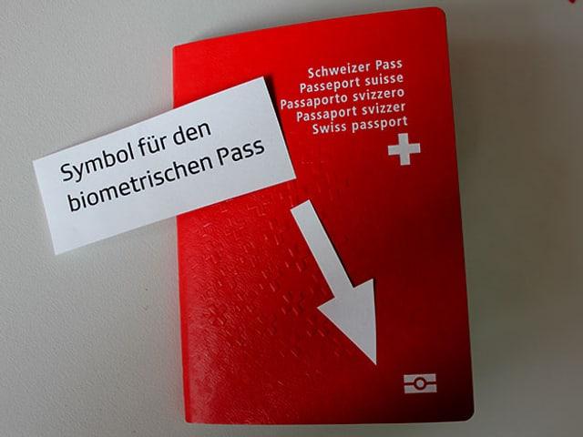 Pass mit Pfeil auf das Symbol für den biometrischen Pass.