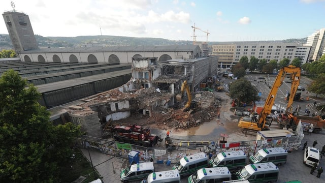 Ansicht von oben der Baustelle des Stuttgarter Hauptbahnhofs (2. September 2010)