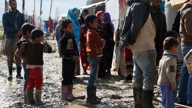 Syrische Flüchtlinge in einem Flüchtlingslager im libanesischen Zahle