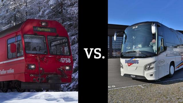 tren da la Viafier retica dasper in bus dad Eurobus
