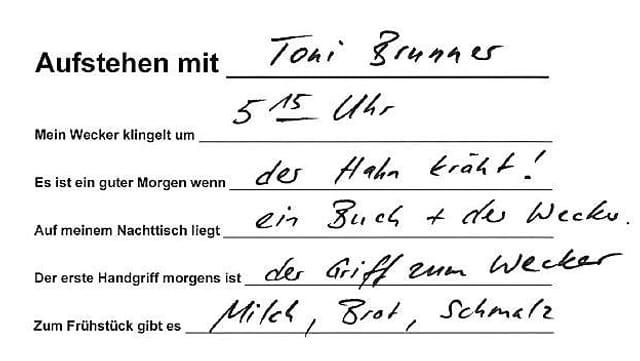 Handschrift von Toni Brunner.