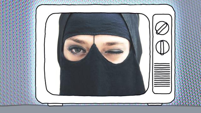 Ein verhülltes Gesicht einer Frau in einem Fernseher.
