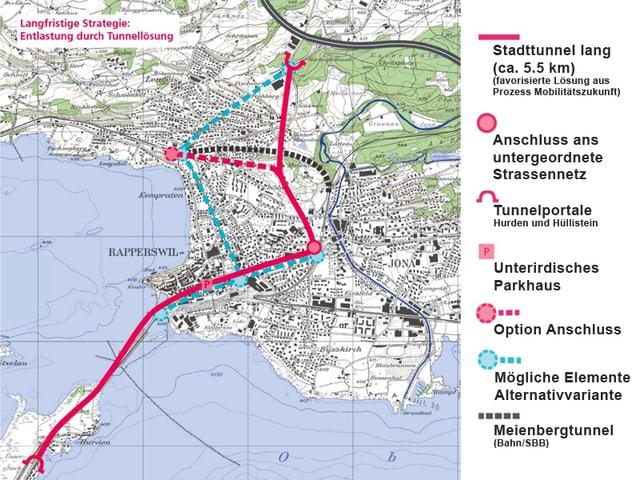 Grafik mit rot eingezeichnetem Tunnel durch Rapperswil