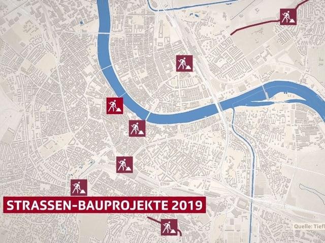 Stadtkarte von Basel mit sieben Baustellen-Zeichen.