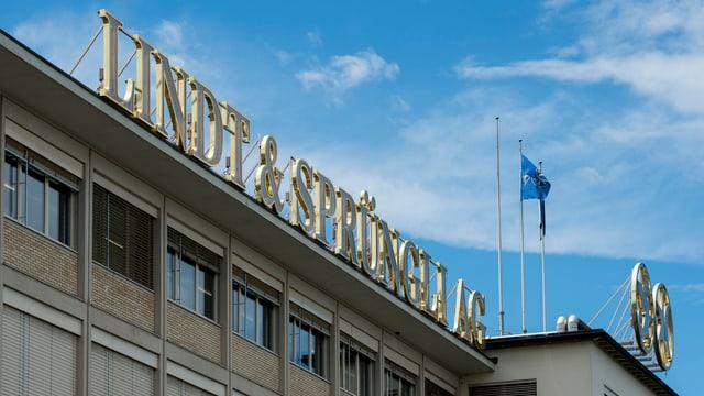 Blick auf den Firmensitz in Kilchberg mit Lindt & Sprüngli Schriftzug