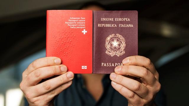 Ein Mann hält einen Schweizer und einen Italienischen Pass vor sein Gesicht.