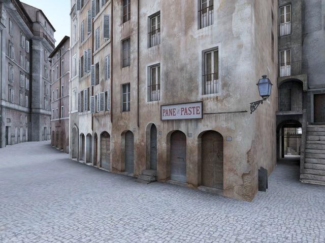 Eng gebaute Gebäude in einem Ghetto in Rom.
