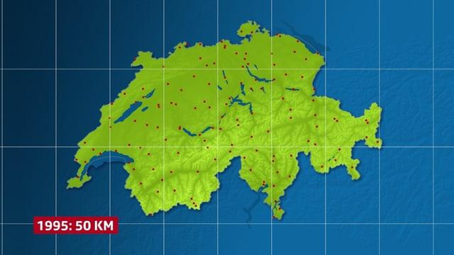 Die Schweiz steht im Zentrum des Bildes. Ein Gitternetz mit der Maschenweite 50 Kilometer überlagert das Bild. Nur wenige Knotenpunkte liegen über der Schweiz.