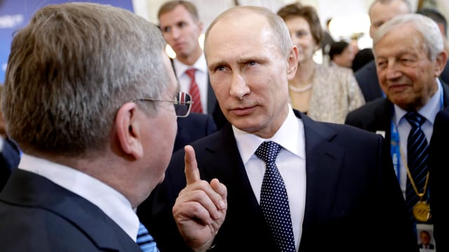 IOC-Präsident Thomas Bach (links) und Russlands Präsident Wladimir Putin.