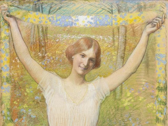 Das Bild zeigt ein Gemälde von Léo-Paul Robert, auf dem eine junge Frau vor frühlingshafter Landschaft zu sehen ist.