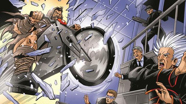 Comic-Tell stürmt mit Motorrad in futuristisches Labor