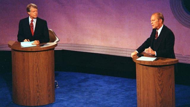 Jimmy Carter und Richard Nixon bei der ersten TV-Debatte im Wahlkampf 1976.