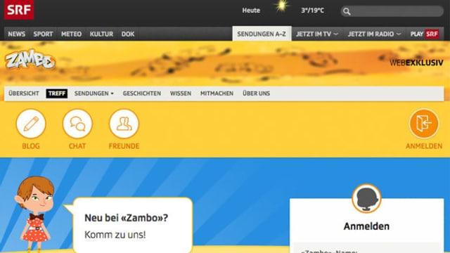 Abbild der neuen Zambo-Seite mit Anmeldebutton für neue Zambo-Mitglieder.