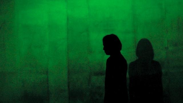Die Silhouetten von zwei Menschen zeichnen sich vor einem grünen Hintergrund ab.