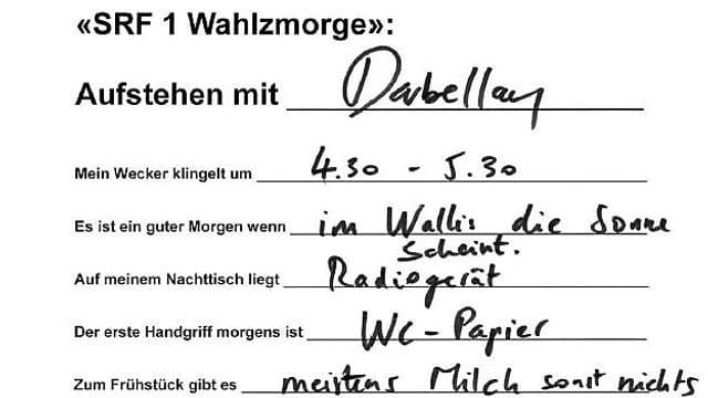 Die Handschrift von Christophe Darbellay.