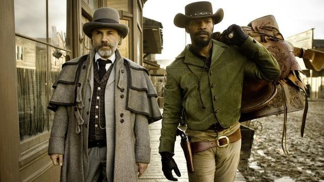 Kopfgeldjäger Dr. King Schultz (Christoph Waltz) und Sklave Django Freeman (Jamie Foxx).