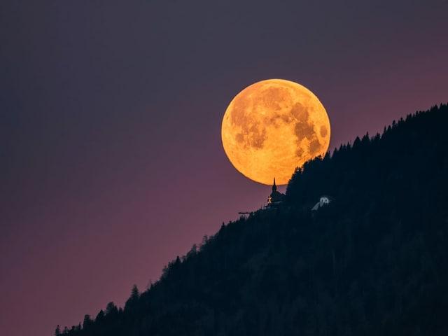 Violetter Nachthimmel mit grossem Vollmond, rechts Konturen eines bewaldeten Berges