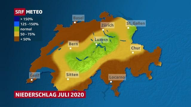Karte der Schweiz mit der Niederschlagsverteilung im Juli 2020.