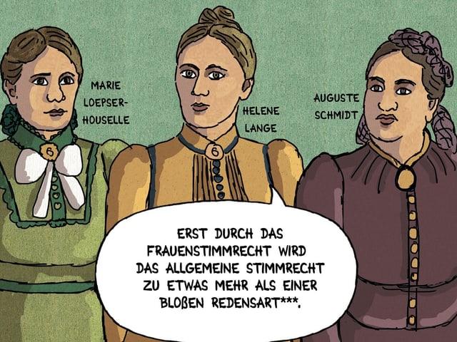 Ausschnitt aus einem Comic: drei Frauen mit bunten Kleidern.