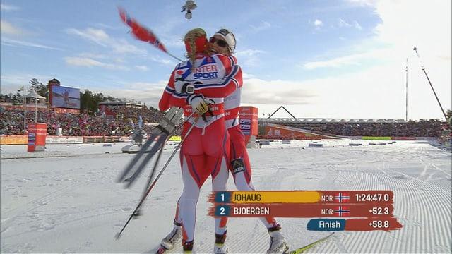 Johaug und Bjoergen freuen sich über den norwegischen Doppelsieg.