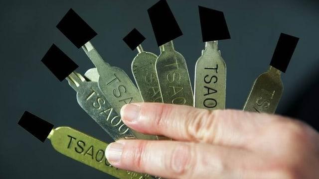 Hand mit einem Fächer an Schlüsseln; die Bärte sind mit schwarzen Balken abgedeckt.