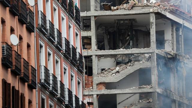 Zerstörtes Gebäude in Madrid.