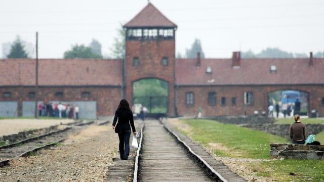 Eine Frau von hinten auf einem Bahngleis, im Hintergrund das KZ Auschwitz.