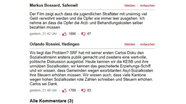 Leserkommentare auf blick.ch