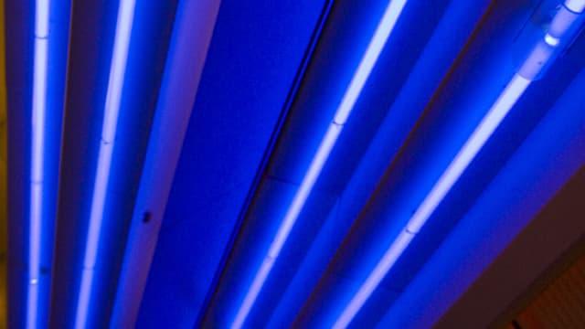 Blau leuchtende Neon-Röhren