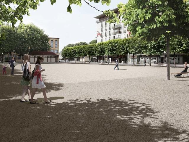 Modell des neuen Neumarktplatzes.