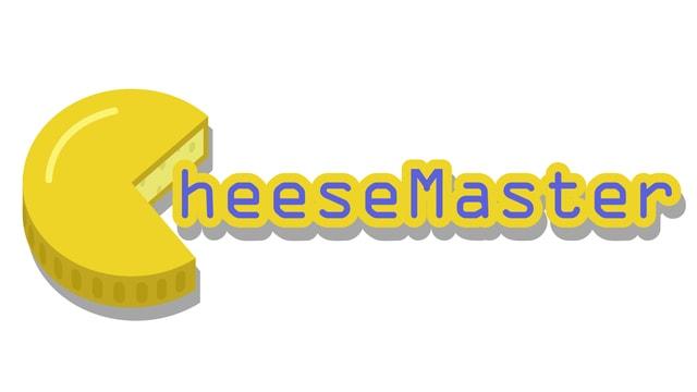 """Logo dal gieu Cheesemaster: ina magnucca cun taglia ora in quart. Quai vesa ora sco c ed ina bucca che maglia las lettras """"heeseMaster"""""""