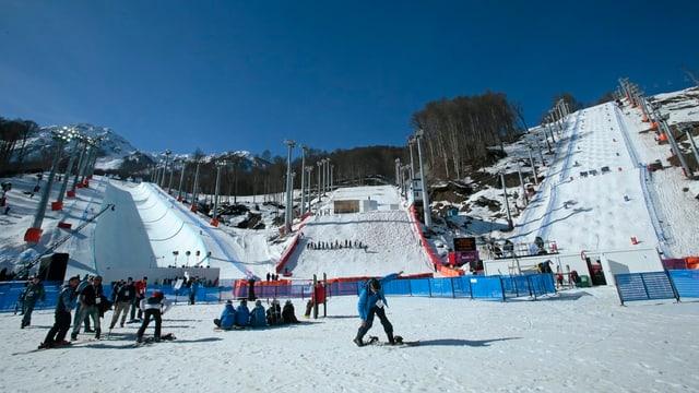 Die Snowboard- und Freestyle-Ski-Anlage von unten.